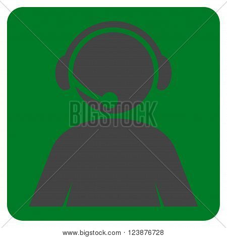 Call Center Operator vector icon. Image style is bicolor flat call center operator pictogram symbol drawn on a rounded square with green and gray colors.