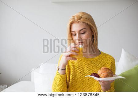 Pretty Girl Having A Sweet Breakfast