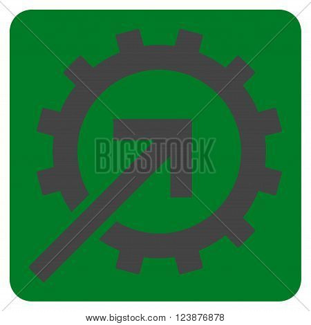 Cog Integration vector icon symbol. Image style is bicolor flat cog integration pictogram symbol drawn on a rounded square with green and gray colors.