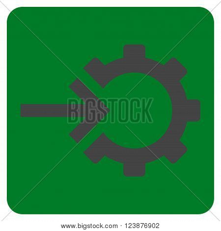 Cog Integration vector icon symbol. Image style is bicolor flat cog integration iconic symbol drawn on a rounded square with green and gray colors.