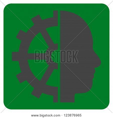 Cyborg Gear vector symbol. Image style is bicolor flat cyborg gear iconic symbol drawn on a rounded square with green and gray colors.
