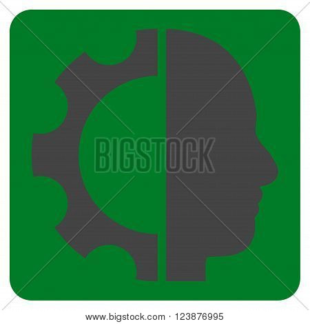 Cyborg Gear vector icon symbol. Image style is bicolor flat cyborg gear iconic symbol drawn on a rounded square with green and gray colors.