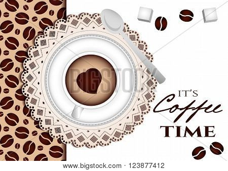 It's coffee time conceptual card. Coffee cup with little details on table with lace. Top view. Design card poster in retro style for coffee break, shop or cafe. Vector illustration