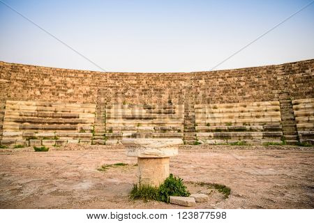 Amphitheater in ancient city of Salamis located in eastern part of Cyprus.