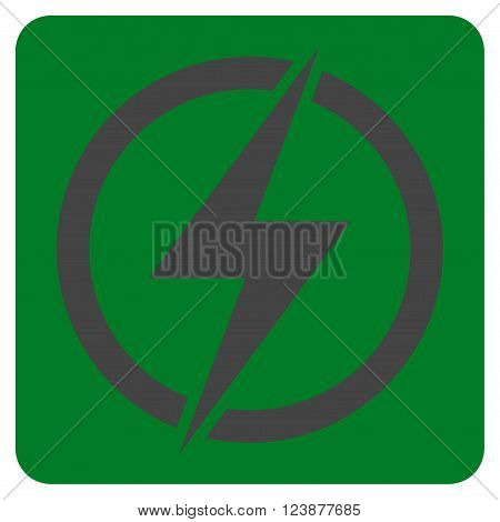 Electricity vector symbol. Image style is bicolor flat electricity pictogram symbol drawn on a rounded square with green and gray colors.
