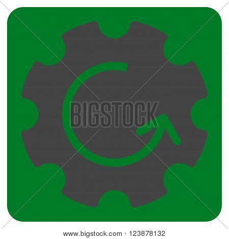 Gear Rotation vector pictogram. Image style is bicolor flat gear rotation icon symbol drawn on a rounded square with green and gray colors.