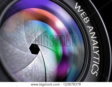 Web Analytics Concept. Closeup of a Front Glass of Camera Lens with Beautiful Color Lights Reflections. Lens of Digital Camera with Web Analytics Inscription. Colorful Lens Flares on Front Glass. 3D.