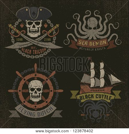 Pirate logo in retro style with grunge texture on a dark background. Texture and text on separate layers and are easily removed.