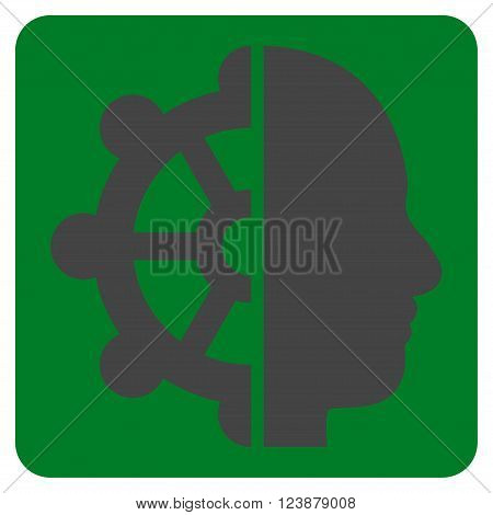 Intellect vector pictogram. Image style is bicolor flat intellect icon symbol drawn on a rounded square with green and gray colors.