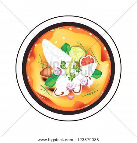 Thai Cuisine Tom Yum or Traditional Thai Spicy and Sour Soup with Squids Mushroom Coconut Milk and Herbs. One of The Most Popular Dish in Thailand.