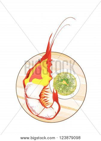 Thai Cuisine Grilled Giant River Prawn with Spicy and Sour Sauce. One of The Most Popular Food in Thailand.