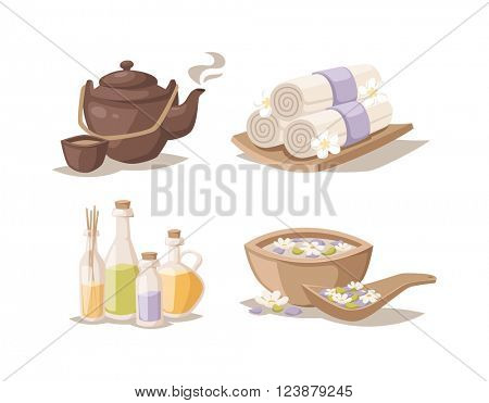 Spa sketch decorative symbols set with bamboo towels aroma candles oils vector.