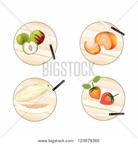 Fresh Fruit Illustration of Jujube Persimmon Melon and Strawberry on Wooden Cutting Boards.