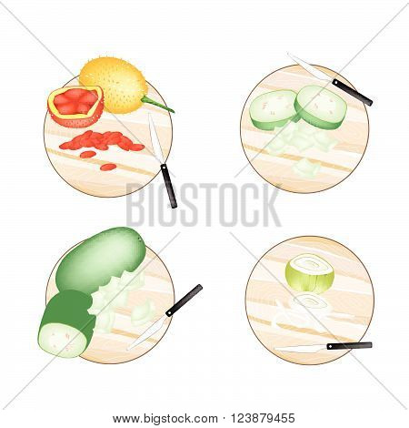 Vegetable Illustration of Onions Gac Fruit and Wax Gourd on Wooden Cutting Boards.
