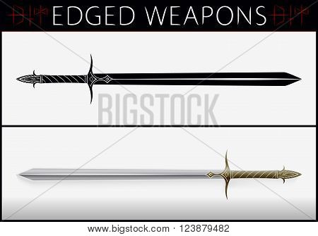 Sword. Medieval Weapons. Silhouette And Colored