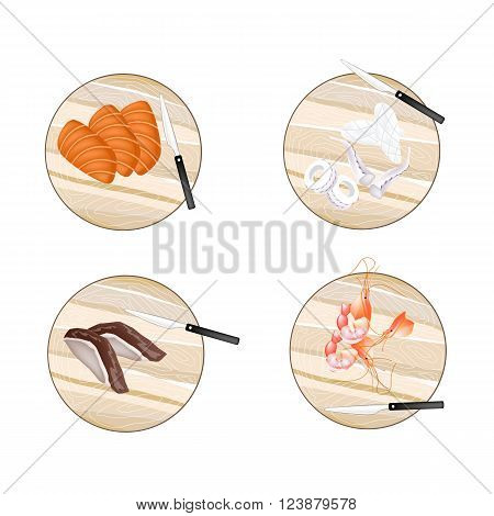 Cuisine and Food Fresh Raw Meat of Duck Salmon Prawns and Squid on Wooden Cutting Boards.