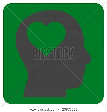 Lover Head vector symbol. Image style is bicolor flat lover head icon symbol drawn on a rounded square with green and gray colors.