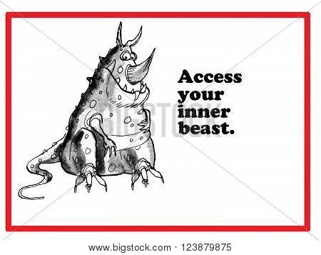 Cartoon suggesting people 'access their inner beast'.