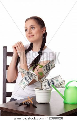 Young Woman With Money Tree.