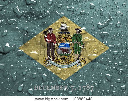 a flag of Delaware with rain drops