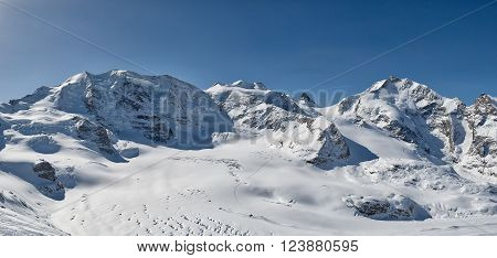 Panorama of mountains of the Engadine valley Palu and Bernina