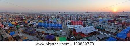 ALLAHABAD, INDIA - FEBRUARY 06 2013: Aerial panorama view of Maha Kumbh Mela festival camp, the world's largest religious gathering.