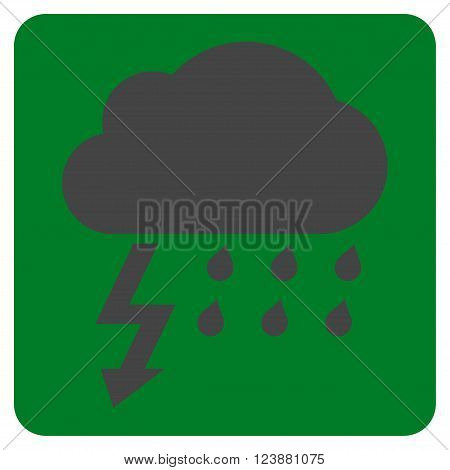 Thunderstorm vector pictogram. Image style is bicolor flat thunderstorm icon symbol drawn on a rounded square with green and gray colors.