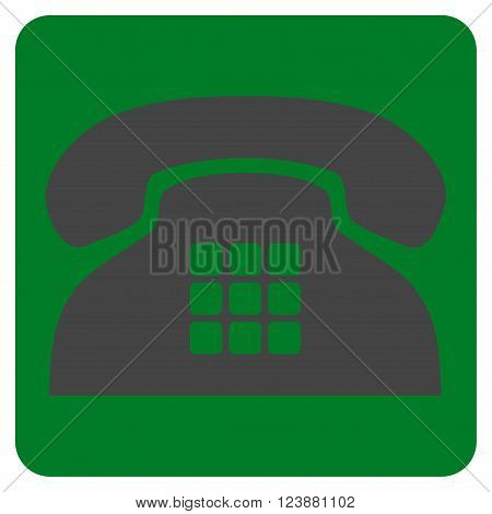 Tone Phone vector symbol. Image style is bicolor flat tone phone pictogram symbol drawn on a rounded square with green and gray colors.