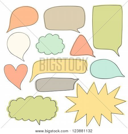 Cute hand drawn doodle speech dialog bubbles collection