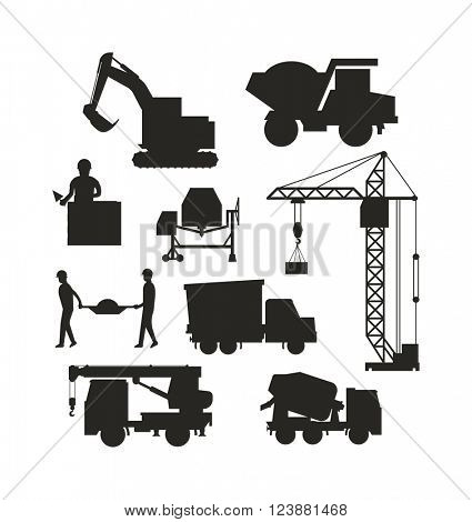 Silhouette of heavy equipment construction and machinery construction equipment silhouette. Machinery industrial. Set of heavy construction equipment silhouette machines icon building transport vector