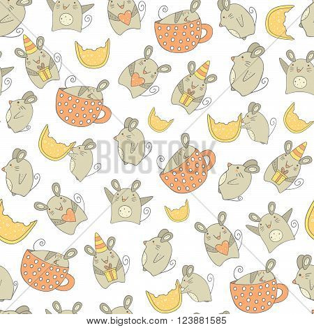 Cute hand drawn doodle mouse seamless pattern with mouse with gift mouse with heart mouse with cheese sleeping mouse dancing mouse.Pattern for wrapping paper cover fabric