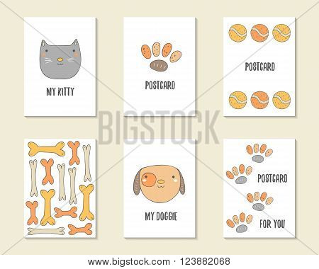 Cute hand drawn doodle birthday party baby shower cards brochures invitations with cat dog bone paw prints tennis ball. Cartoon objects animals background. Printable templates set