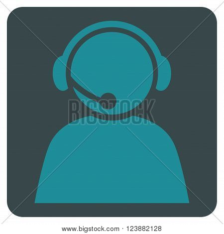 Call Center Operator vector pictogram. Image style is bicolor flat call center operator icon symbol drawn on a rounded square with soft blue colors.