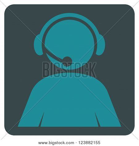 Call Center Operator vector pictogram. Image style is bicolor flat call center operator iconic symbol drawn on a rounded square with soft blue colors.
