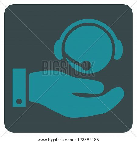 Call Center Service vector symbol. Image style is bicolor flat call center service icon symbol drawn on a rounded square with soft blue colors.