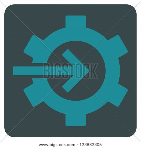 Cog Integration vector icon symbol. Image style is bicolor flat cog integration pictogram symbol drawn on a rounded square with soft blue colors.