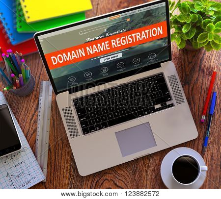 Domain Name Registration on Laptop Screen. Online Working Concept. 3D Render.