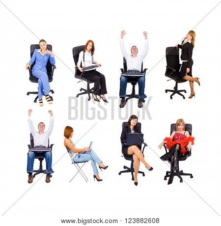 Business Picture Team over White