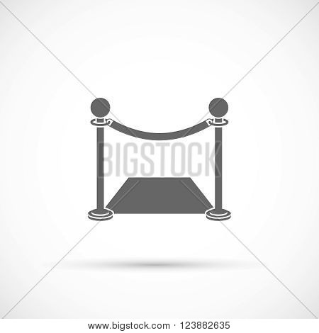 Fence with carpet icon. Flat style icon on white