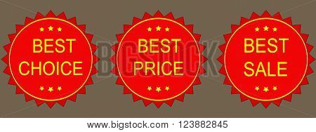 Vector Sale Tags. Best choice best price best sale.