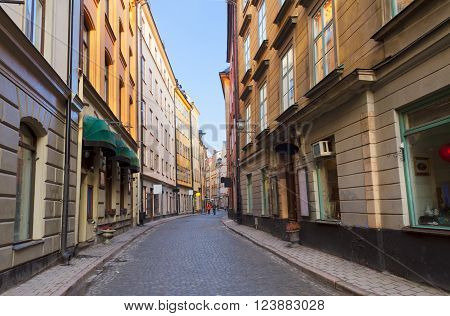 old town Gamla Stan  street in Stockholm at day, Sweden