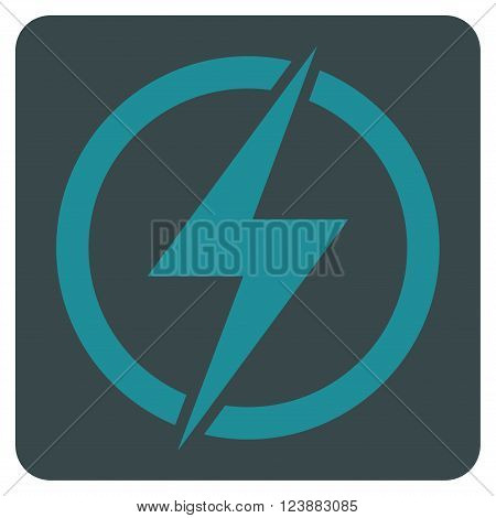 Electricity vector icon symbol. Image style is bicolor flat electricity pictogram symbol drawn on a rounded square with soft blue colors.