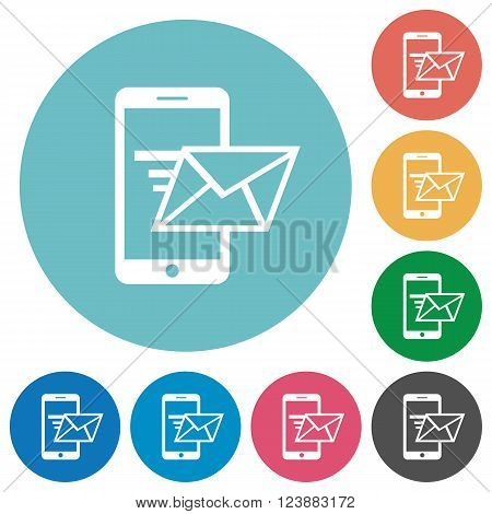 Flat sending email icon set on round color background.