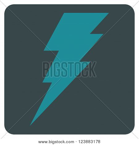Execute vector pictogram. Image style is bicolor flat execute iconic symbol drawn on a rounded square with soft blue colors.