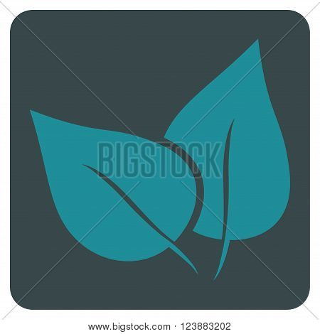 Flora Plant vector symbol. Image style is bicolor flat flora plant pictogram symbol drawn on a rounded square with soft blue colors.