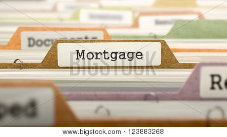 Mortgage on Business Folder in Multicolor Card Index. Closeup View. Blurred Image. 3D Render.
