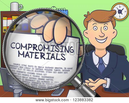 Compromising Materials. Officeman Shows Paper with Inscription through Lens. Multicolor Doodle Style Illustration.
