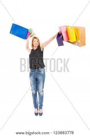 Joyful Shopping Woman Throwing Shopping Bags