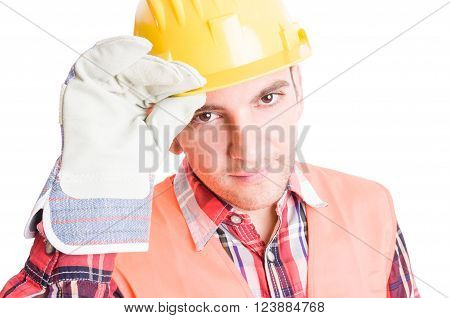 House Builder Geeting By Touching His Helmet