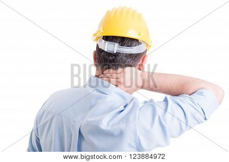 Stressed Engineer Feeling Back Neck Pain